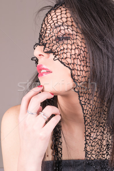 Jungen Gesicht Schleier perfekt Make-up schönen Stock foto © pxhidalgo