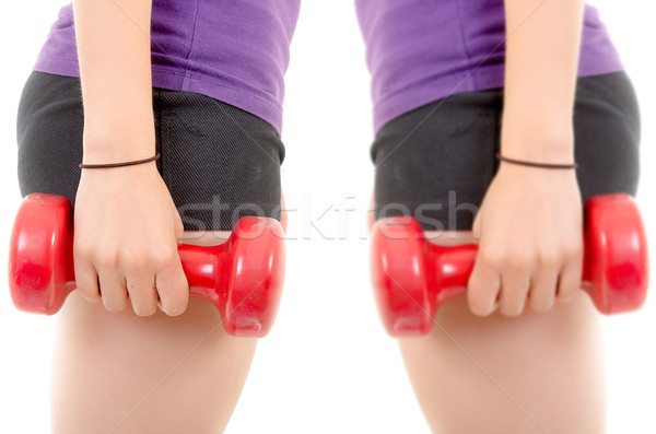 close up, muscular woman body with dumbells copyspace sign Stock photo © pxhidalgo