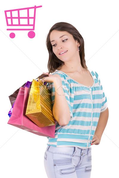 Gelukkig winkelen vrouw winkelwagen teken meisje Stockfoto © pxhidalgo