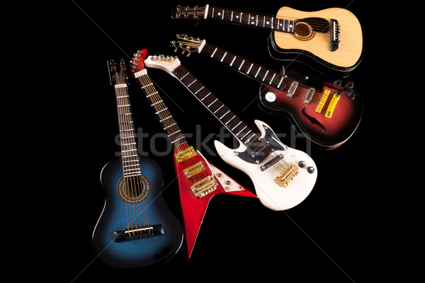 Akusztikus elektromos szett fa gitár háttér Stock fotó © pxhidalgo
