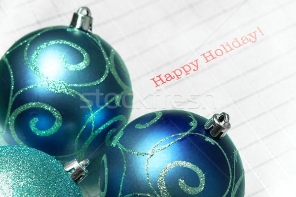 Kék karácsonyfa golyók boldog ünnep fény Stock fotó © pxhidalgo