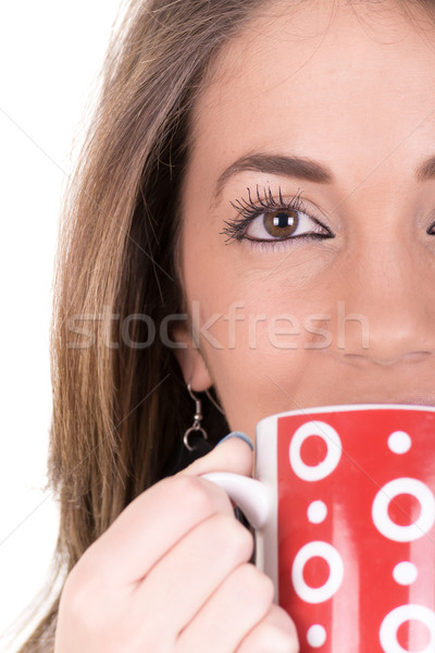 Woman enjoying a large cup of freshly brewed hot tea Stock photo © pxhidalgo