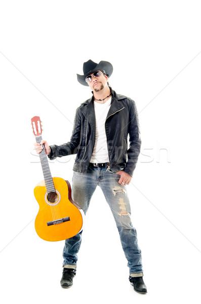Młodych biegun człowiek gitara biały Zdjęcia stock © pxhidalgo