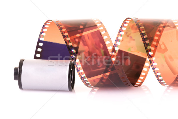Stock photo: Close up image of an old 35 mm negative film strip