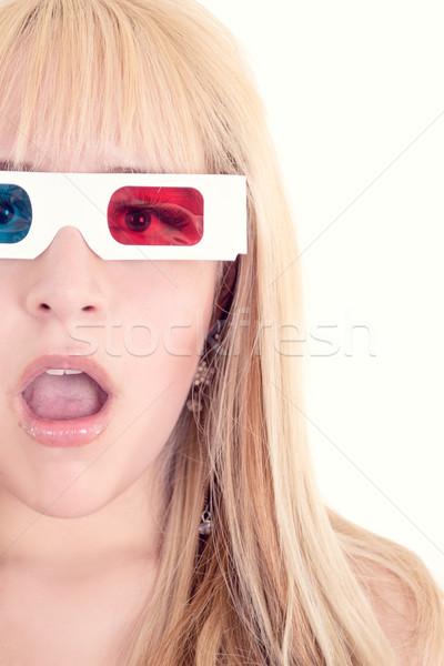 Genç güzel bir kadın 3d gözlük ayarlamak kadın kız Stok fotoğraf © pxhidalgo