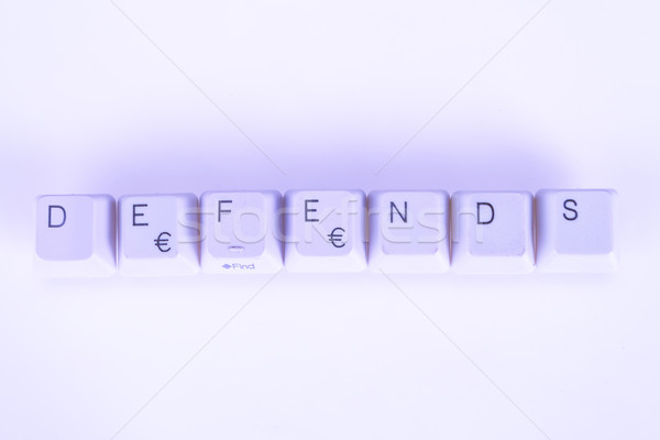 Defends word written with computer buttons Stock photo © pxhidalgo
