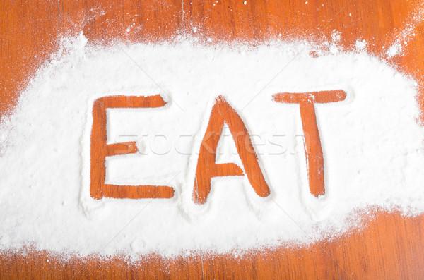 Jeść podpisania mąka żywności zabawy Zdjęcia stock © pxhidalgo