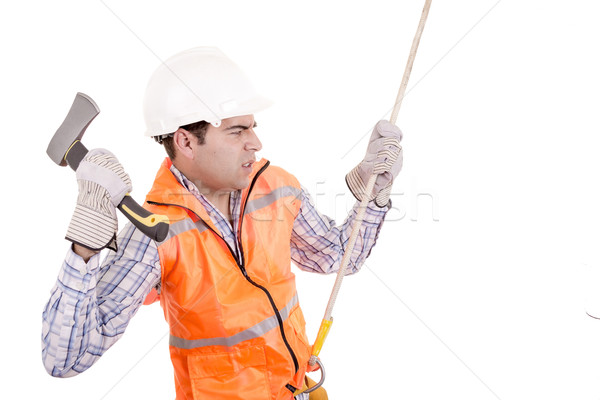 adult man wearing safety equipment descending a rope Stock photo © pxhidalgo