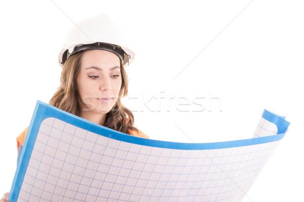 Vrouwelijke bouwvakker lezing Blauw industrie pak Stockfoto © pxhidalgo