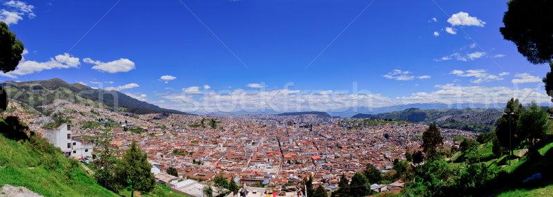 Panoramic view of Quito in Ecuador blue skyes Stock photo © pxhidalgo