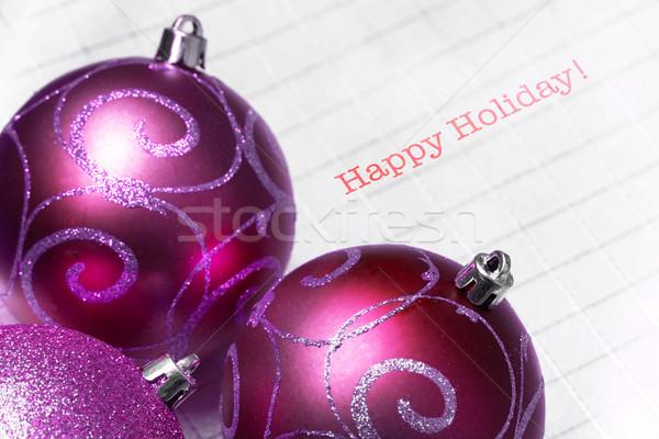 Multicolored Christmas tree balls with happy holiday Stock photo © pxhidalgo