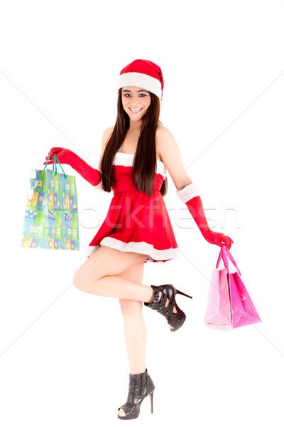 Sorridente compras menina branco natal Foto stock © pxhidalgo