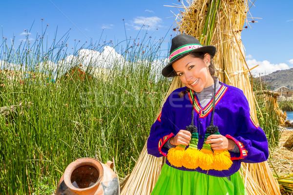 latin woman in national clothes. Peru. s. america Stock photo © pxhidalgo