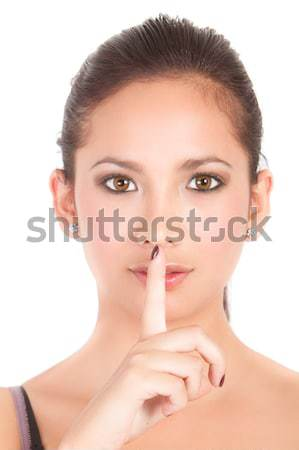 Secret. Woman saying hush be quiet. Mixed race Stock photo © pxhidalgo