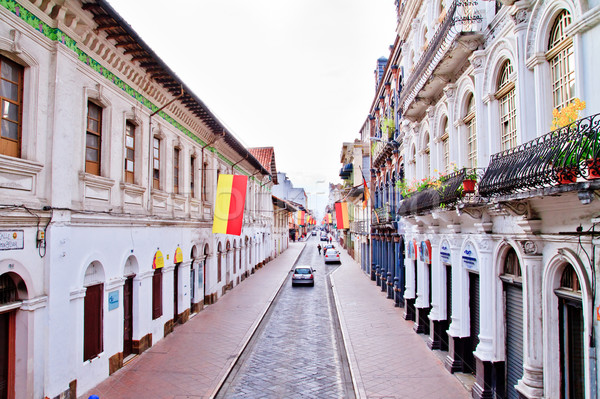Streets of Cuenca Ecuador during the festivities with city flags Stock photo © pxhidalgo