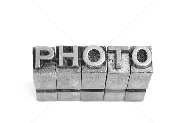 PHOTO sign, antique metal letter type Stock photo © pxhidalgo