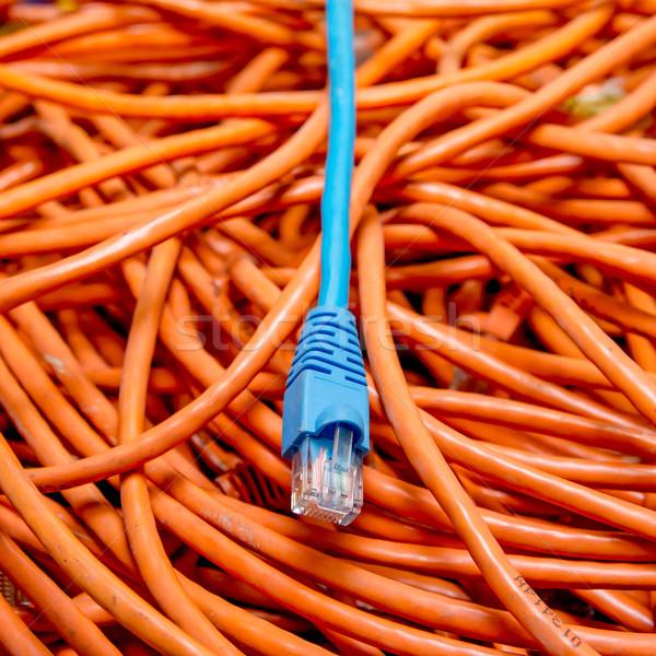Ethernet kablolar mavi turuncu kablo Stok fotoğraf © pxhidalgo