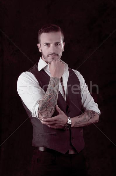 man with stylish suit and tattoos Stock photo © pxhidalgo