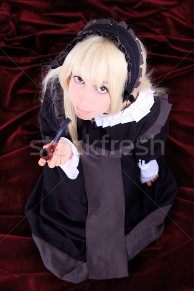 Mooie cosplay jonge vrouw kostuum meisje gezicht Stockfoto © pxhidalgo