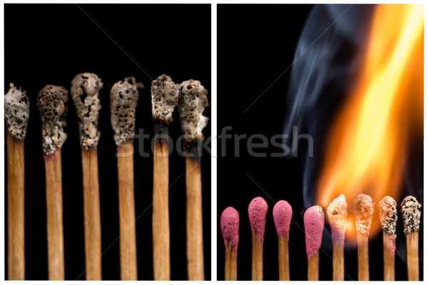 Set of whole and burnt matches at different stages Stock photo © pxhidalgo