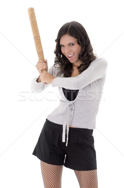 Pretty  hispanic lady with a baseball bat, studio portrait Stock photo © pxhidalgo