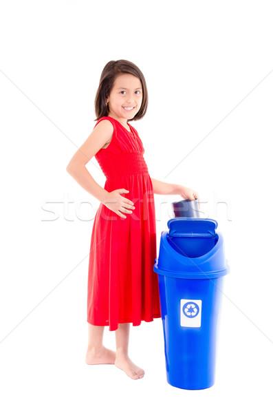 Kislány újrahasznosítás tároló gyermek világ üveg Stock fotó © pxhidalgo