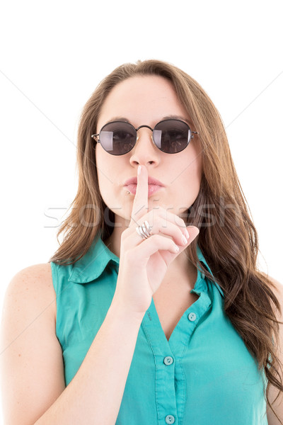 Woman with sunglasses - isolated over a white background Stock photo © pxhidalgo