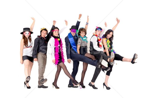 Groep zakenlieden dansen kantoor kleding gek Stockfoto © pxhidalgo