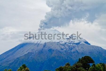 Stock fotó: Közelkép · vulkán · kitörés · nagy · mennyiség · tűz