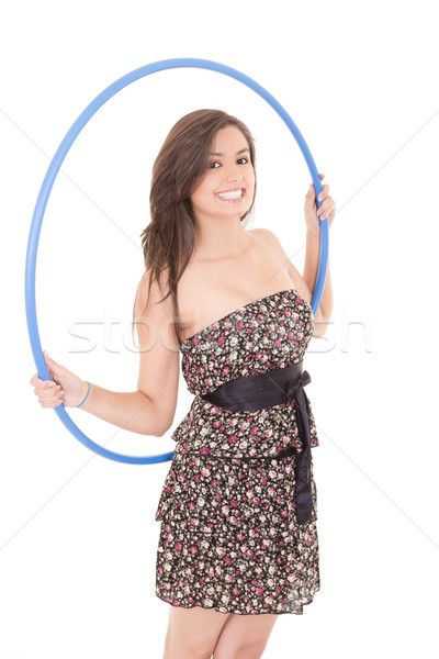 Young attractive woman holding hula hoop Stock photo © pxhidalgo