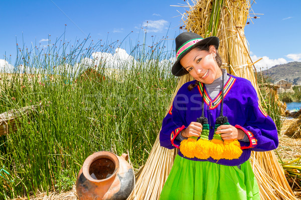 the latin woman in national clothes. Peru. south america Stock photo © pxhidalgo
