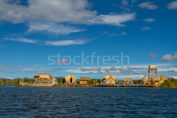 Peru lebeg szigetek tó legnagyobb világ Stock fotó © pxhidalgo