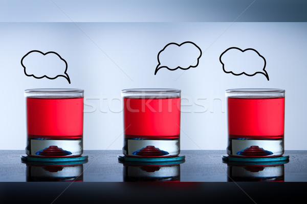 Három koktél szemüveg víz üveg bár Stock fotó © pxhidalgo