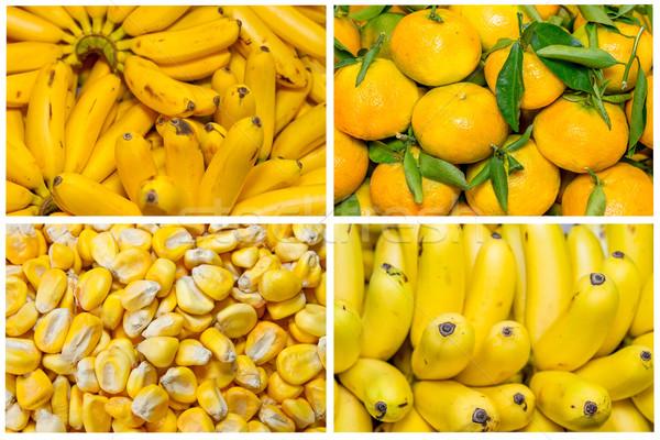 Сток-фото: коллаж · свежие · фрукты · овощей · желтый · продовольствие · яблоко