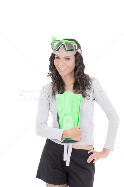 Funny woman in snorkeling gear, isolated studio shot Stock photo © pxhidalgo