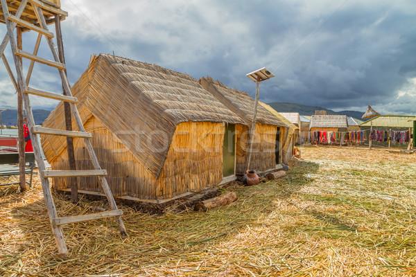 El evler Peru güney amerika güneş panelleri yapay Stok fotoğraf © pxhidalgo
