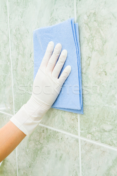 Female household, tile cleaning with gloves Stock photo © pxhidalgo
