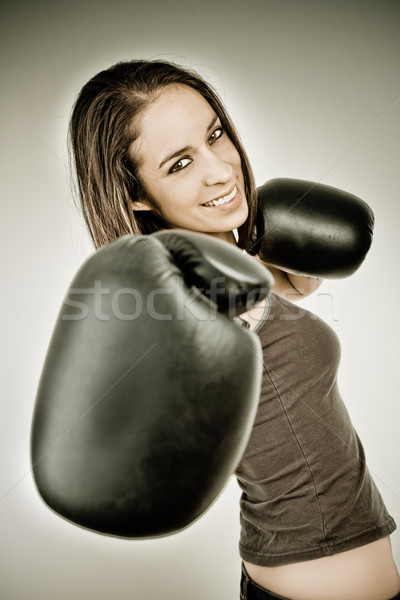 Happy Boxing business woman color processed grunge Stock photo © pxhidalgo