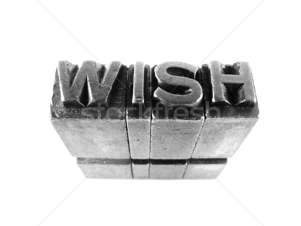 WISH sign, antique metal letter type isolated Stock photo © pxhidalgo