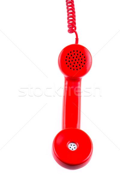 Piros telefonkagyló fehér üzlet háttér kapcsolat Stock fotó © pxhidalgo
