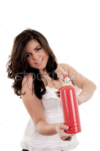Business woman in holding fire extinguisher Stock photo © pxhidalgo