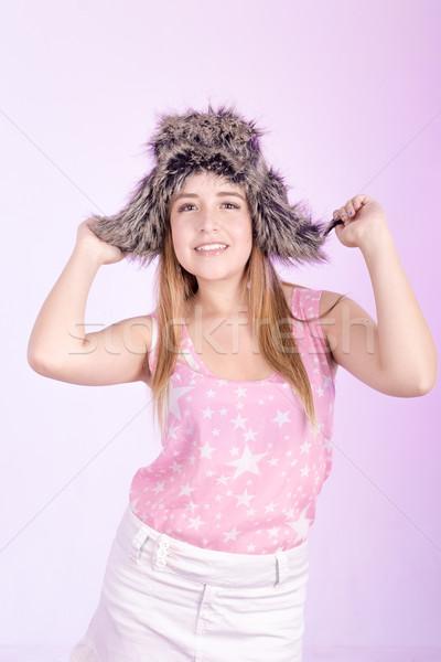 Foto stock: Menina · pele · boné · rosa · cara · moda
