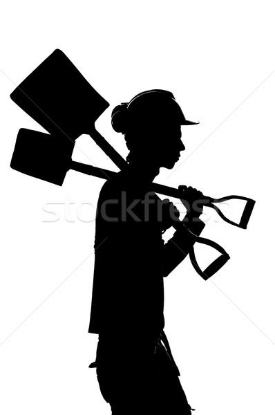 Siluet inşaat oluşturucu işçi iş çalışmak Stok fotoğraf © pxhidalgo