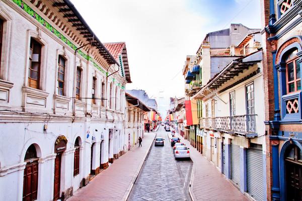 Utcák Ecuador város zászlók égbolt épület Stock fotó © pxhidalgo