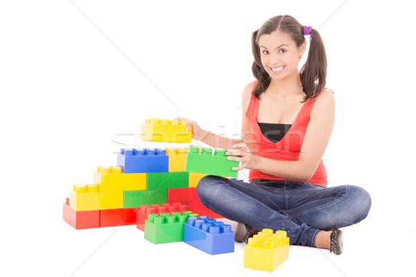 Vrouw spelen blokken familie gelukkig moeder Stockfoto © pxhidalgo