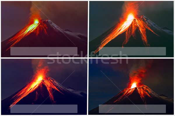 Vulkaan uitbarsting collage wolken natuur rook Stockfoto © pxhidalgo