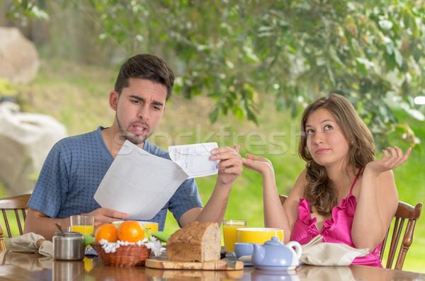 Couple déjeuner maison jardin Photo stock © pxhidalgo