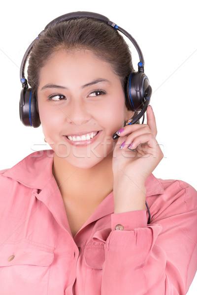 женщины Hispanic клиентов представитель гарнитура бизнеса Сток-фото © pxhidalgo