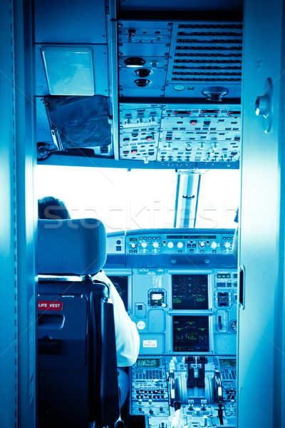 Commercial airplane interior cockpit Stock photo © pxhidalgo