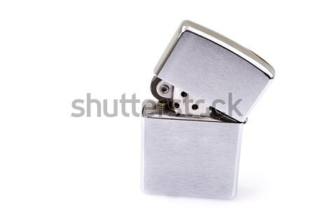 Prata metal isqueiro conjunto luz fumar Foto stock © pxhidalgo